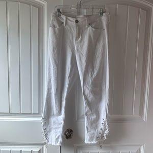 White chain jeans